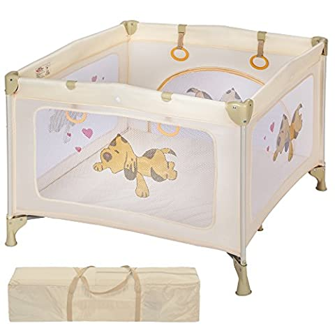TecTake Parc pour Bébé Lit de Bébé Parapluie Pliant avec Sac de Transport beige
