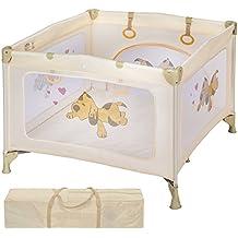 TecTake Parque para bebé cuna infantil de viaje portátil altura ajustable beige