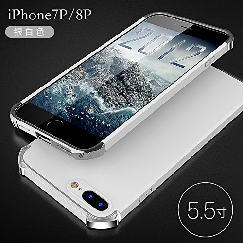 YHUISEN Mode 3 in 1 Heavy Duty High Impact Matte Plating Shockproof Anti-Drop PC Hard Schutzhülle für iPhone 7 Plus / iPhone 8 Plus ( Color : Blue Gold ) Silver White