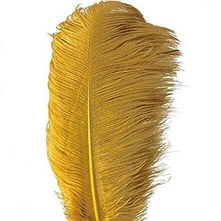 Aababuy Lot de 5, Naturl plumes autruches 18–50,8cm (45–50cm) plumes de mariage, vêtements, fête, décoration de table, DIY 18-20inch doré