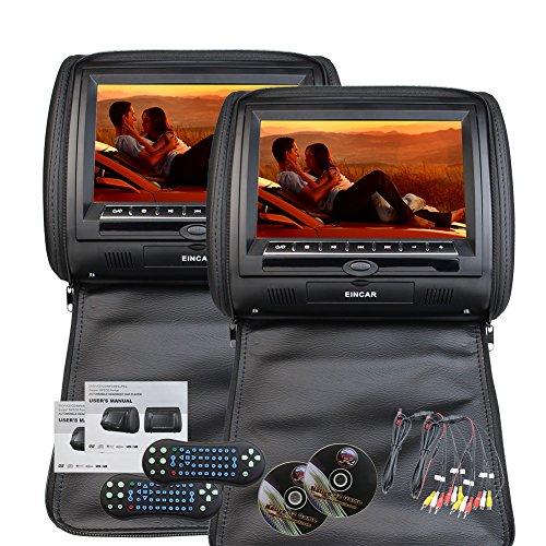 Eincar 9-Zoll-HD 800 * 480 Auflösung Double Twin Car Screens 2 PCS Auto-Kopfstütze Kissen Region kostenlos Dual-DVD-Player Auto-Entertainment-System IR-FM-Kunstleder-Auto-Monitor (schwarz) Ein Ir-system