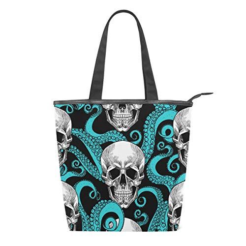 Bolso de Lona para Mujer con diseño de Calavera y Pulpo, Color...