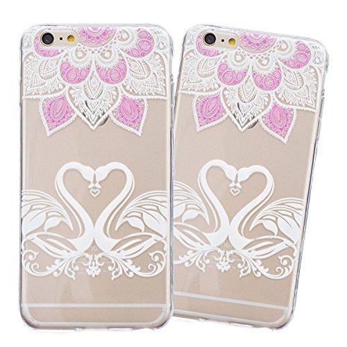 iPhone 6 Hülle, E-Lush Beliebte Lace Flower Muster für Apple iPhone 6 6S (4.7 zoll) Telefonkasten TPU Silikon Rand Acryl Rückseite Abdeckung Handyhülle Clear Transparent Schutzhülle Weiche Flexibel Ha Liebe