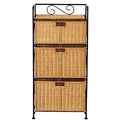GYP Storage Cabinet Haushalt Wohnzimmer Rattan drei Schichten Kleidung Schrank Finishing Box Schließfächer Clip Frame kaufen ( Farbe : A )