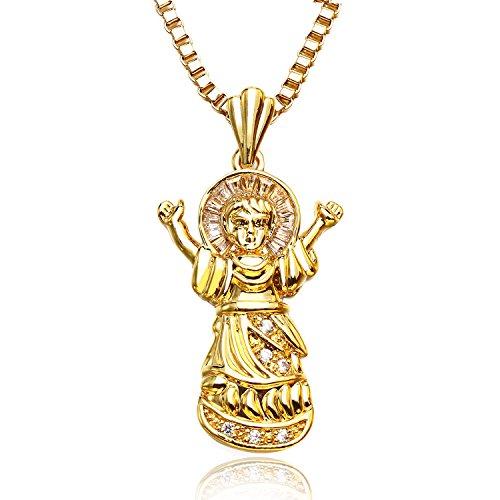 et Christian Saint Virgin Mary Anhänger Halskette für Herren Damen Religiöse Schmuck (Religiöse Weihnachtsgeschenke)