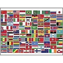 American Vinyl Hoja del Top 100 Mundial Diferente país Bandera Pegatinas