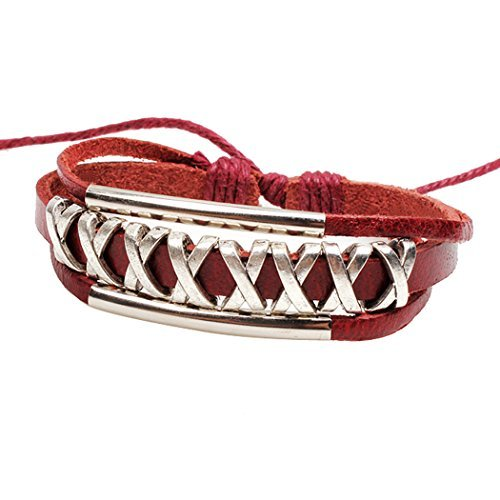 real-spark-para-mujer-rojo-doble-de-grosor-tubo-x-metal-multicapa-ajustable-leather-wrap-pulsera