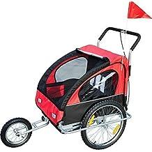 Remolque para Niños 2 PLAZAS con Amortiguadores Carro para Bicicleta con Barra INCLUIDA y Kit de