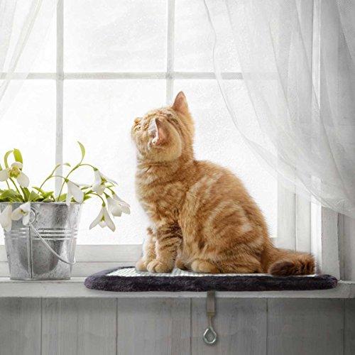 Katzenliege von PetPäl | Perfekter Fensterliegeplatz für Katzen mit Kratzbrett | DIE Liegefläche (39x29cm) am Lieblings Fensterplatz für die Katze | Ideale Fensterbank Liegeplatte zum Kratzen, Liegen & Entspannen | Langlebig durch Sisal Kratzfläche | Variabel Einstellbar für viele Fensterbänke