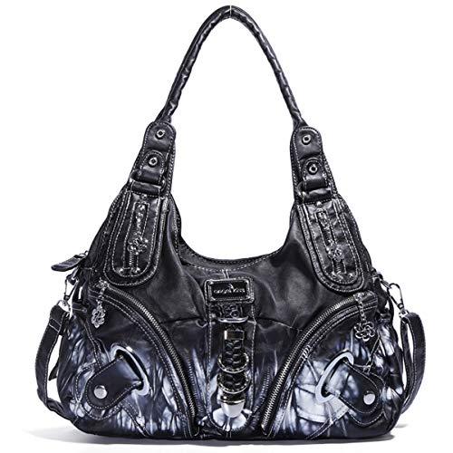 Angel Barcelo Frauen-Handtasche geräumig mehrere Taschen Damen ' Schultertasche Mode PU Tote Tasche Satchel Tasche Designer-Handtaschen (Black)