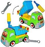 """Auto mit Werkzeug - """" Kipper / Baustellen Fahrzeug """" - zum Schrauben - Räder abschrauben - Schraubenzieher + Maulschlüssel - Bauen + Konstruieren - für Kinder / Bausatz für Kleinkinder - erstes Schrauben - zusammenbauen / zusammenschrauben - Schraubenspiel - Spielzeug - Lernspielzeug - Motorikspielzeug - Wagen - Kleinkinderspielzeug / Kunststoffauto - Plastikauto - Baumaschine / Baustelle"""