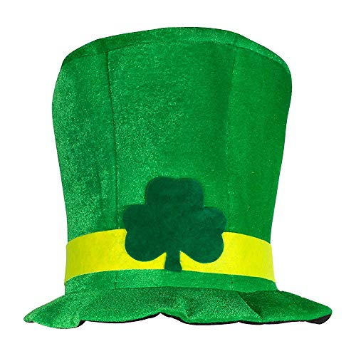 SEGRJ Hut irischer St. Patrick Day Green Leaf Samt High Hat Party Erwachsene Kappe Kostüm Multi - Green Hat Day