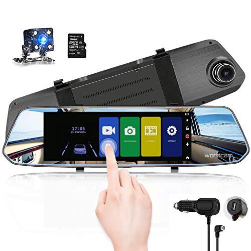Rétroviseur 7 broches pour caméra Dash CAM 1080P Double objectif avant et arrière avec caméra de recul étanche (carte SD 16 Go)