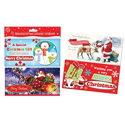 Tallon 4 Pack of Christmas Money/ Gift Card Wallet Cards- Design at Random- Hand Crafted