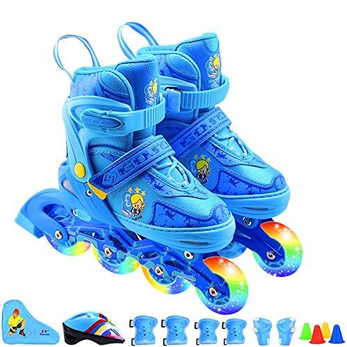 Schlittschuhe Schlittschuhe Einreihige Schlittschuhe (34-37) M-Code (Geeignet Für Normale Schuhgrößen 33-36) Blau -