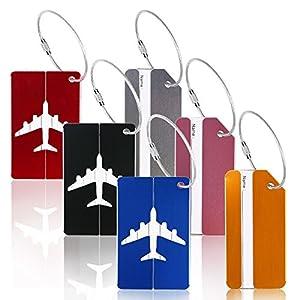 6 Pcs Étiquette Bagage, ZoomSky Etiquettes Avion Accessoire Voyage En Aluminium Avec Deux Motifs Pour Bagages Valises Sac à Main