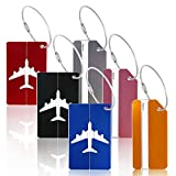 Luggage Tags,ZoomSky 6 Pack Aluminum Strip and Airplane Pattern Luggage Baggage Handbag Tag Suitcase Bag Labels Name Address Holder for Travel Bussiness Tri