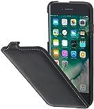 StilGut UltraSlim Case Funda de piel auténtica, Flip Case para su iPhone 8 Plus (5,5') & iPhone 7 Plus (5,5'). Cover extremadamente delgada con abertura vertical de cuero genuino, Negro Nappa