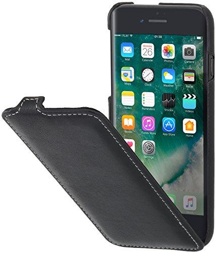 StilGut Leder-Hülle kompatibel mit iPhone 8 Plus vertikales Flip-Case, Schwarz Nappa - Leder Iphone Case Vertikal 6