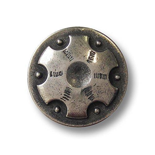 Knopfparadies - 6er Set sehr interessante leicht gewölbte Metall Ösen Knöpfe mit geographischem Motiv wie Zahnrad / altsilberfarben, geschwärzt / Metallknöpfe / Ø ca. 20mm