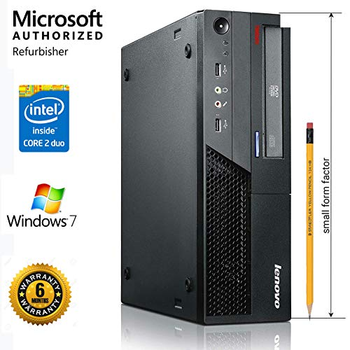 (Renewed) Lenovo ThinkCenter M57(Core_2_Duo_E7500 2.93GHZ ,4GB RAM,160 HDD 7200 RPM, Intel Q35 Express, Slimline, Intel HD Graphics, Win 7 Prof, DVD, USB, Ethernet, Audio in/Out), Black