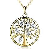 JO WISDOM Halskette Baum Des Lebens,kette anhaenger silber 925 baum des lebens Anhänger Halskette,Damen Schmuck,kette: 45-50CM (vergoldet,Zirkonia)