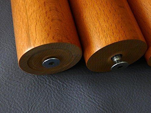 KIRSCH LACKIERT Rundfüße Holz Bettfüße Möbelfüße Holzfüße Couchfüße M8 Höhe-25cm.