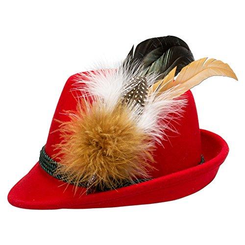 Alpenflüstern Damen Filzhut Trachtenhut rot mit Hutfeder Farbenfroh ADV07400M35 braun