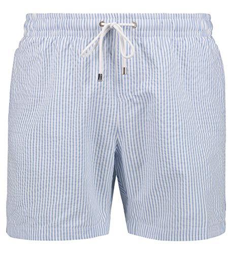 East Club London Herren Badeshorts Sky Blue Striped Seersucker im lässigen Look Blue-White, S -
