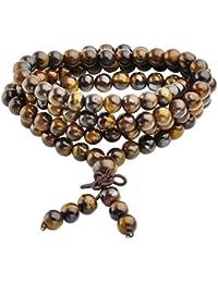 Jovivi 6mm Gemme Oeil de Tigre Perles Naturels Collier OU Bracelet Multi-Cercles Tibétain Bouddhiste Buddha Mala Chinois Élastique Homme,Femme