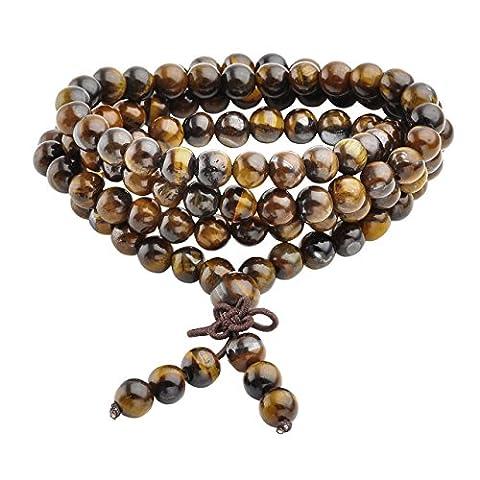 Jovivi 6mm Gemme Oeil de Tigre Perles Naturels Collier OU Bracelet Multi-Cercles Tibétain Bouddhiste Buddha Mala Chinois Élastique