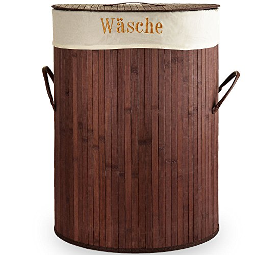 SSITG Wäschekorb Bambus Wäschesammler Wäschetruhe Wäschebox 100L Wäschetonne Box