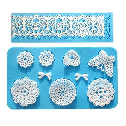 Vivin Spitze Silikon-Form-Form-Fondant-Kuchen-Dekoration Backen Bakeware Blume 2ST Farbe in gelegentlichem