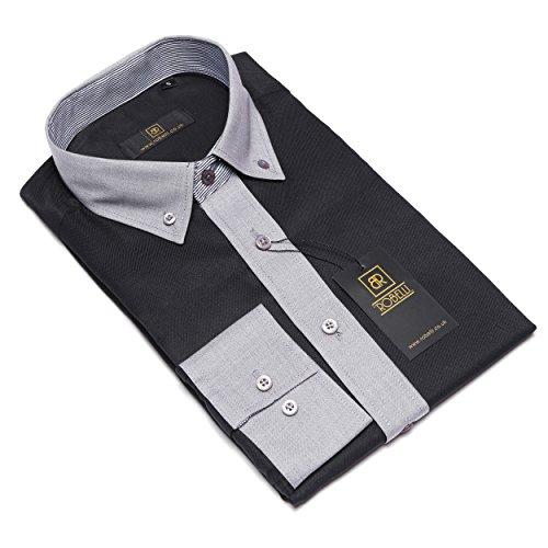 Herren lässig elegant Baumwolle/Satin langärmlig Hemd & Krawatte Satz Sammlung Black / Grey No. 5