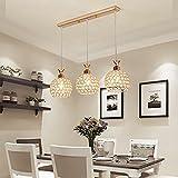 BESPD Drei Crystal Restaurant moderne einfache Mahlzeit kreative led-Tabelle Hängeleuchte Kronleuchter Deckenlampe gold drei geraden 9-W-LED * 3