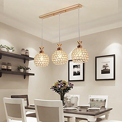 Antike Messing Lampen-tabelle (BESPD Drei Crystal Restaurant moderne einfache Mahlzeit kreative led-Tabelle Hängeleuchte Kronleuchter Deckenlampe gold drei geraden 9-W-LED * 3)
