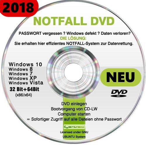 Recovery & Repair CD DVD für Windows 10 ® WINDOWS 7/8 Vista XP Lösung bei PASSWORT vergessen und Daten verloren ? Windows defekt? DIE LÖSUNG ! (Cd Recovery Xp)