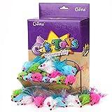 chiwava 15cm Furry Katzenspielzeug Mäuse mit Satin Feder Pet Kitten Colorful Maus Interaktives Spielzeug