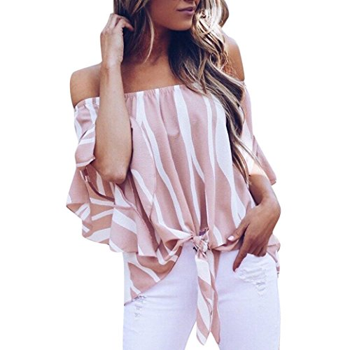 OverDose Damen Sommer Herbst Frauen Gestreift Schulterfrei Taille Krawatte Bluse Kurzarm Casual T Shirts Tops Freizeit Oberteile Bluse (A-Rosa,EU-42/CN-XL) -