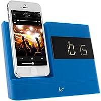 KitSound XDOCK 2 Radio Réveil avec Station d'Accueil et Connecteur Lightning pour iPhone 5/ iPhone SE/iPod Nano 7/iPod Touch 5 - Livré avec Prise EU - Bleu