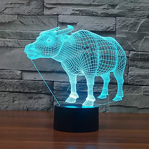 GBBCD Nachtlicht Neuheit 7 Farben Ändern Led 3D Kuh Büffel Tischlampe Usb Tier Rinder Visuelle Nachtlichter Schlaf Beleuchtung Neujahr Geschenke Dekor