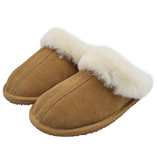 Oasap Women's Fashion Winter Warm Fur Flat Suede Wool Slippers Brown-2