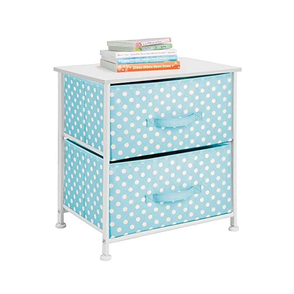 mDesign Chest of Drawers - Children's Bedroom Storage System with 2 Drawers and Flat Top - Nursery Storage Unit with Polka Dot Design - Turquoise/White mDesign SWEET STORAGE: This 2-drawer side table is a must-have accent to complement any child's room. The bright turquoise fabric is adorned with a sweet white polka dot pattern. STORE ANYTHING: The bedroom drawers are a versatile unit and can be filled with anything. Use to store toys, accessories, clothes, books, nappies and more. VERSATILE UNIT: Although the unit works best as bedroom storage, its uses do not stop there. Place in play rooms, nurseries and other child-specific areas of the home. 5