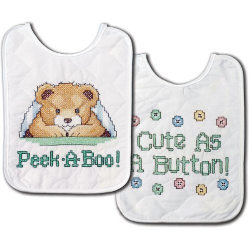 Tobin Under The Covers Bib Pair Stamped Cross Stitch Kit, 8 by 10-Inch, Set of 2 by Tobin