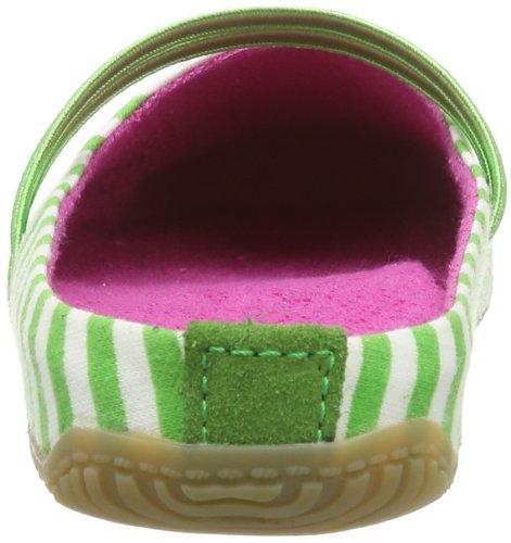 Living Kitzbühel Pantoffel Streifen Mit Punktekappe, Pantoufles non doublées femme Vert - Grün (436 green tea)