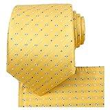 KissTies Flora - Juego de corbata, pañuelo cuadrado y caja de regalo, color amarillo