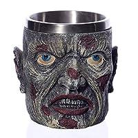 qnmbdgm Coolest Gothic Skull Resin Stainless Steel Beer Mug Dragon Knight Tankard Halloween Coffee Cup Christmas Tea Mug Pub Bar Decor
