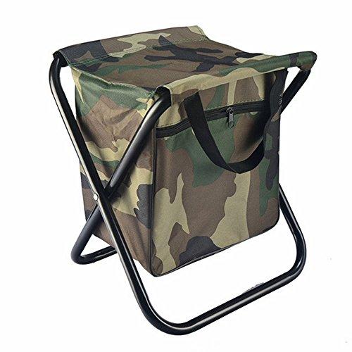 Lezed Tabouret en plein air,Camouflage Chaise pliante,Avec tiroir de rangement,Chaise portative,Chaise de pêche sportive,Tabouret de voiture,Chaise pliante,Tabouret casual en toile (camouflage)