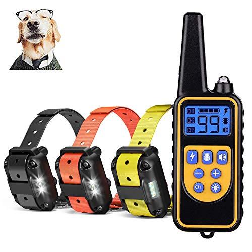 Jjobs collare addestramento per cane, 800 metri con 4 modelli, impermeabile e ricaricabile per 3 cani