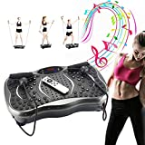 Fitness Vibrationsplatte ,5 Traningsprogramm 180 Stufen Power Vibro, Vibrationsgerät mit rutschsicherer Trainingsfläche, Ganzkörper Trainingsgerät Mit Bluetooth , LCD , Fernbedienung , Trainingsbänder